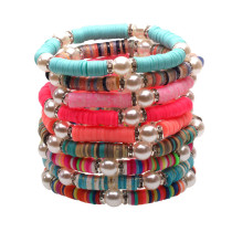 Farbe Armband Weiche Keramik Perle Handgewebt Sommer Modeschmuck