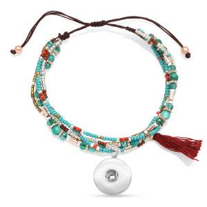 Perles de riz en verre alliage de cristal matériau mixte bracelet multicouche tressé s'adapte à des morceaux de 20 mm