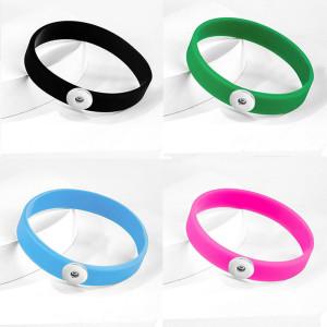 Bracelet élastique multicolore en silicone pour morceaux de boutons-pression de 20 mm Bracelet en silicone