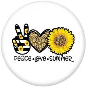 20MM Peace Love Print Glasschnappknöpfe