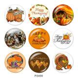 Стеклянные кнопки с принтом Дня благодарения 20 мм