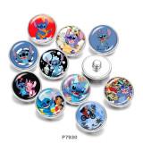 20MM Cartoon OHANA Print boutons pressions en verre