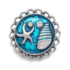 Goutte d'huile bleu étoile de mer Conque 20MM avec boutons-pression en strass