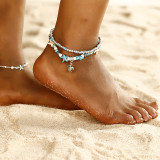 Bracelet de cheville double conque étoile de mer vague riz perle yoga plage tortue pendentif bracelet de cheville