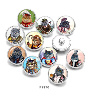 Стеклянные кнопки с принтом Cat 20 мм