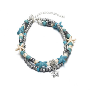 Double Anklet Conch Starfish Wave Rice Bead Yoga Beach Turtle Pendant Anklet Bracelet