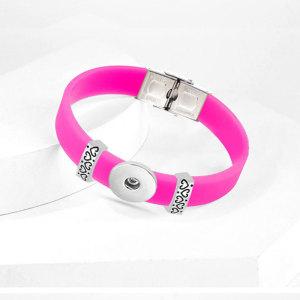 Liebe Edelstahl-Silikon-elastisches verstellbares DIY-Armband für 20mm Schnappverschlüsse