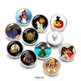 20MM épouvantail Halloween Print boutons pression en verre