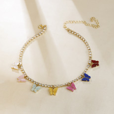 Diamond Claw Chain Color Butterfly Love Heart Cross Pendant Necklace Clavicle Necklace
