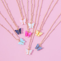 Fashion all-match necklace color butterfly alloy necklace