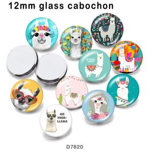 10個/ロットさまざまなサイズのアルパカガラス画像印刷製品冷蔵庫用マグネットカボション