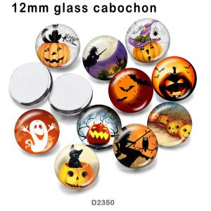 10個/ロットハロウィンキャットガラス画像印刷製品各種サイズ冷蔵庫マグネットカボション