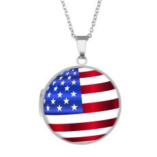 Phasenbox aus Edelstahl lackiert, Kettenlänge 60cm, Durchmesser 27cm Flagge amerikanischer Unabhängigkeitstag Sonnenblume