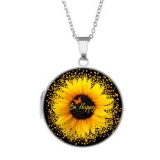 Edelstahl bemalte Fotophasenbox, Kettenlänge 60cm, Durchmesser 27cm Sonnenblume, Meereslebewesen, farbige Kugeln