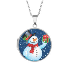 ステンレス塗装フェイズボックス、チェーン長さ60cm、直径27cmスカルシンボルアニマルクリスマス雪だるま