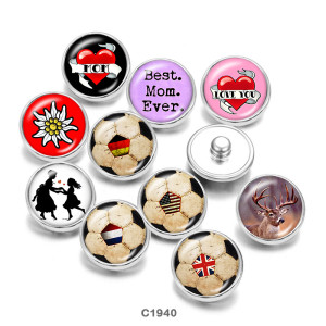 Painted metal snaps 20mm  charms  Best Mom Ever   Volleyball   Print