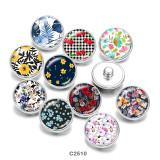 Bemalte Metalldruckknöpfe 20mm Charms Blumendruck Mädchen