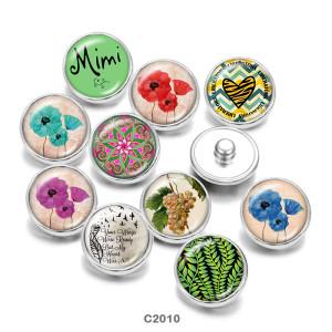 Boutons-pression en métal peint Breloques 20 mm Mimi Flower Print
