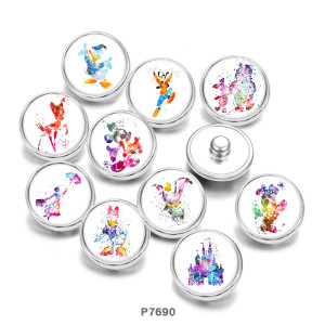 Painted metal snaps 20mm  charms Cartoon  Donald Duck  Print