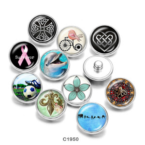 Painted metal snaps 20mm  charms  Survivor   dolphin   Print