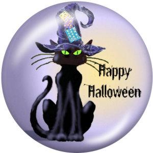 Крашеные металлические кнопки 20мм подвески с принтом кота на Хэллоуин