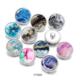 Painted metal snaps 20mm  charms  Pattern  Print    Beach Ocean