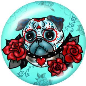 Boutons-pression en métal peint Breloques de 20 mm Crâne de chien Impression