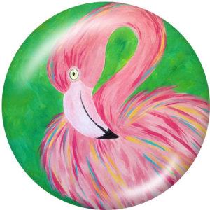Druckknöpfe aus lackiertem Metall 20mm Charms Flamingo Print LOVE