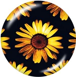 Painted metal snaps 20mm  charms  Sunflower  Flag  USA  Print