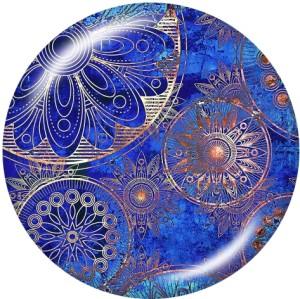 Painted metal snaps 20mm  charms  mandala  pattern  Print