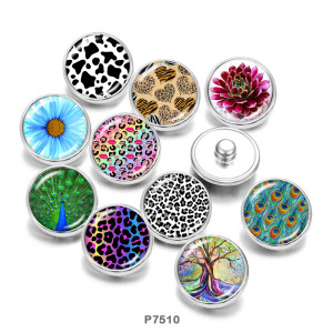 Painted metal snaps 20mm  charms Flower  Peacock  Print