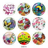 Bemalte Metalldruckknöpfe 20mm Charms Blumen-Schmetterlings-Druck