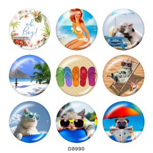 Boutons-pression en métal peint Breloques 20 mm Beach Ocean Print