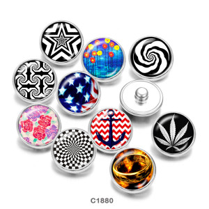 Painted metal snaps 20mm  charms  Flower   ship's anchor  Print