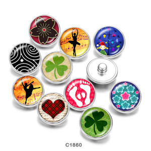 Painted metal snaps 20mm  charms  Dance  Clover   Print
