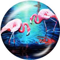塗装済みメタルスナップ20mmチャームフラミンゴLOVEプリントビーチ