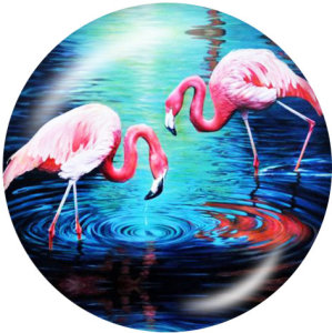 Bemalte Metalldruckknöpfe 20mm Charms Flamingo LOVE Print Beach