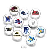 Boutons-pression en métal peint breloques de 20 mm NCAA School Team Print