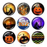 Boutons-pression en métal peint breloques de 20 mm Impression d'Halloween