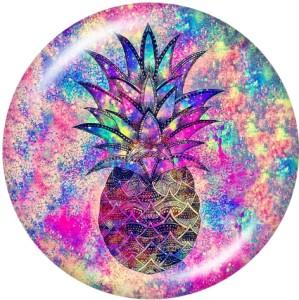 Painted metal snaps 20mm  charms  doughnut  pineapple  Print