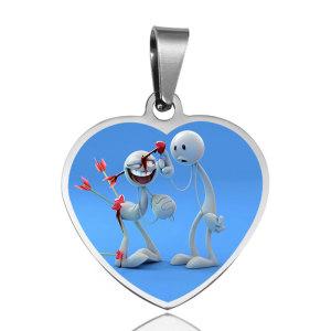 30MM Edelstahl gemalter Liebes-Herzform-Anhänger