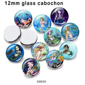 10個/ロットさまざまなサイズのオーシャンマーメイドガラス画像印刷製品冷蔵庫用マグネットカボション