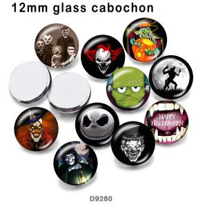 さまざまなサイズの10個/ロットハロウィーンスカルガラス画像印刷製品冷蔵庫マグネットカボション