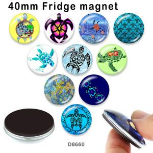 10個/ロットさまざまなサイズの海ウミガメガラス画像印刷製品冷蔵庫マグネットカボション