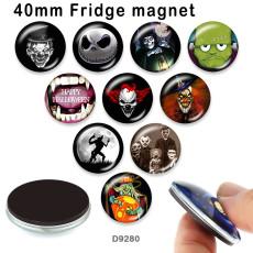 10 pcs/lot Halloween crâne verre image produits d'impression de différentes tailles réfrigérateur aimant cabochon