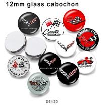 10 pcs/lot produits d'impression d'image en verre de signe de voiture de différentes tailles cabochon d'aimant de réfrigérateur