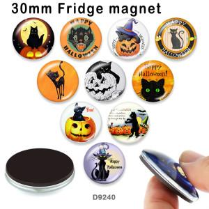 10 шт. / Лот, стеклянная печатная продукция с изображением кота на Хэллоуин, различных размеров, магнит на холодильник, кабошон