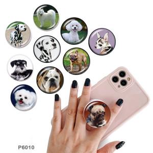 犬 携帯電話ホルダー 黒または白のプリントパターンをベースに塗装された電話ソケット