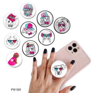 Cat Dog Der Handyhalter Lackierte Telefonsteckdosen mit schwarzem oder weißem Druckmustergrund