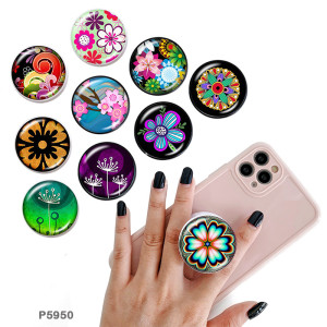 BlumenDer Handyhalter Lackierte Telefonsteckdosen mit schwarzer oder weißer Druckmusterbasis